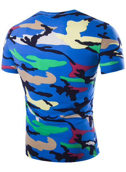Camouflage Loose Fit Short Sleeves V-Neck Men's T-Shirt - BLUE M