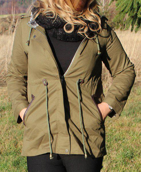 Stylish Long Sleeve Hooded Spliced Waist Drawstring Women's Trench Coat - ARMY GREEN S