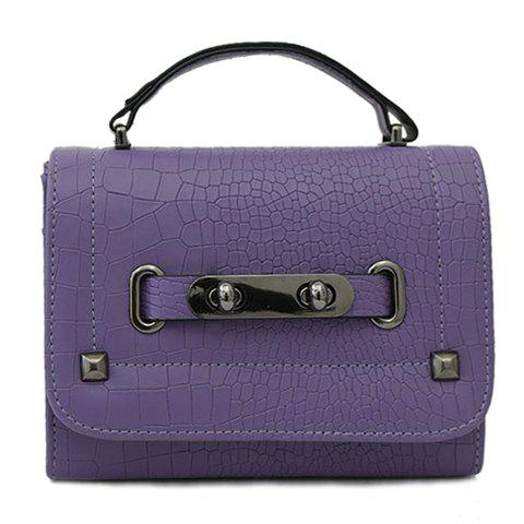 Trendy  Metal and Cover Design Women's Tote Bag - PURPLE