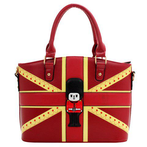 Fashionable PU Leather and Colour Block Design Women's Tote Bag -  DEEP RED
