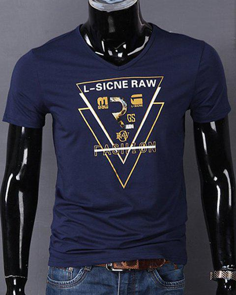 V-Neck Triangle and Letters Print Short Sleeve T-Shirt For Men - DEEP BLUE 3XL