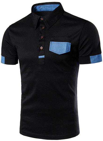 Denim Spliced Color Block Turn-down Collar Short Sleeves Men's Polo T-Shirt - BLACK 2XL
