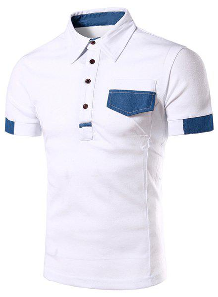 Denim Spliced Color Block Turn-down Collar Short Sleeves Men's Polo T-Shirt - WHITE 2XL