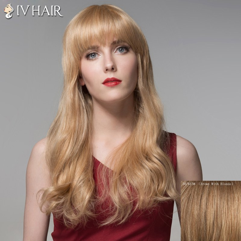 Trendy Full Bang Curly Human Hair Long Wig For Women - BROWN/BLONDE