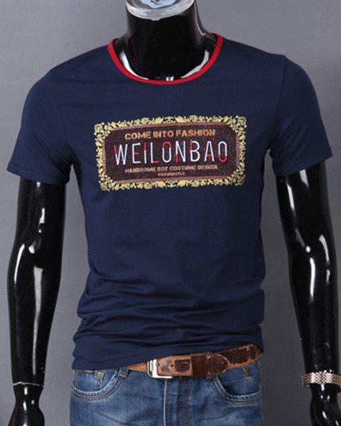 Round Neck Letters Print and Embroidered Short Sleeve T-Shirt For Men - PURPLISH BLUE L