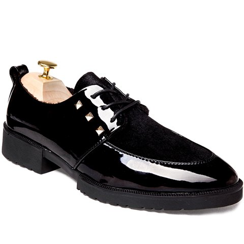 Trendy Lace-Up and Patent Leather Design Formal Shoes For Men - BLACK 40