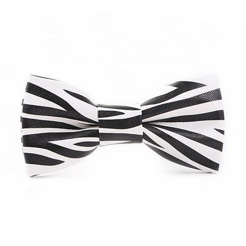 Stylish Zebra Stripe Pattern Black and White PU Bow Tie For Men - WHITE/BLACK