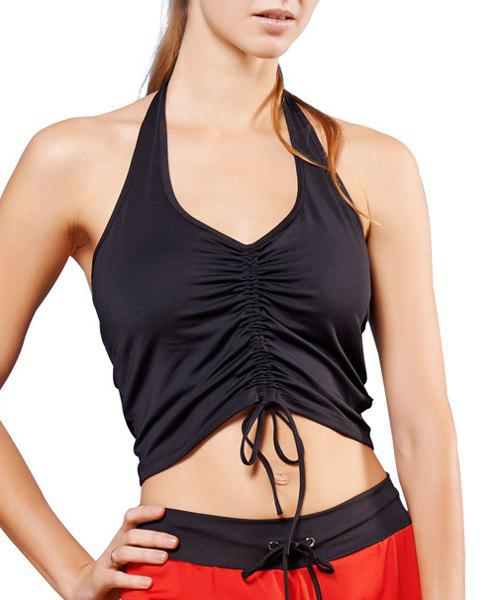 Active Women's Halter Ruffled Candy Color Tank Top - BLACK L
