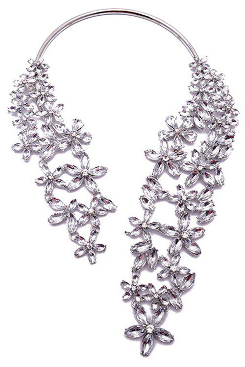 Fashionable Faux Crystal Floral Torque Necklace For Women - WHITE