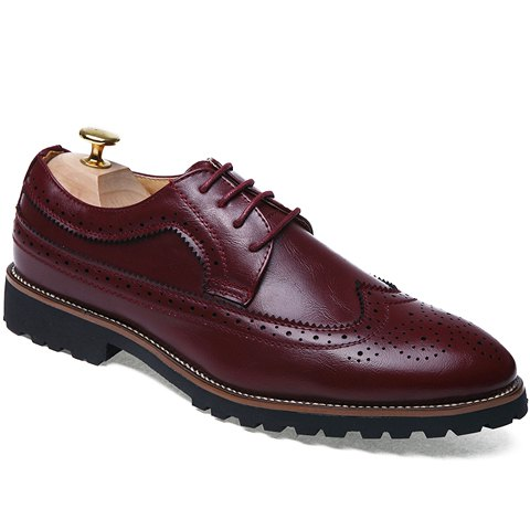 Trendy Engraving and PU Leather Design Formal Shoes For Men - WINE RED 40