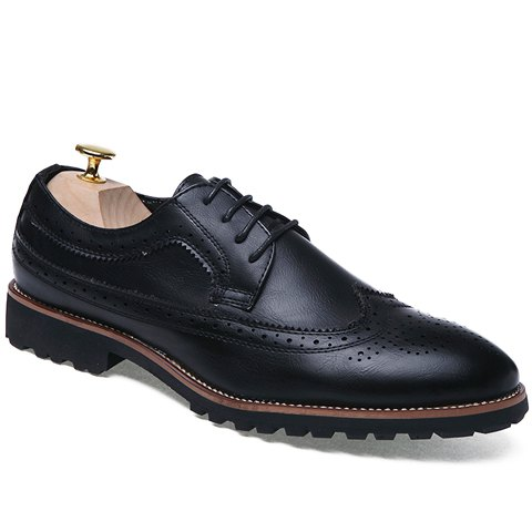 Trendy Engraving and PU Leather Design Formal Shoes For Men - BLACK 42