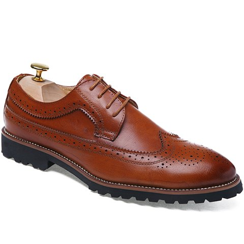 Trendy Engraving and PU Leather Design Formal Shoes For Men - BROWN 43