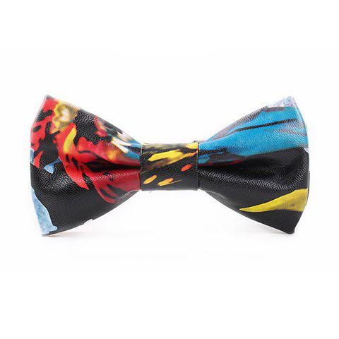 Stylish Tie-Dyed Pattern Multicolor PU Bow Tie For Men