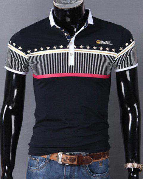 Turn-Down Collar Vertical Stripe Spliced Stars Print Short Sleeve Men's Polo T-Shirt - PURPLISH BLUE M