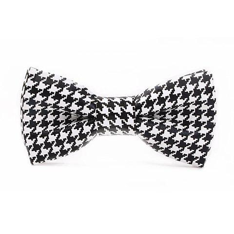 Stylish Houndstooth Pattern Men's Black and White PU Bow Tie - WHITE/BLACK