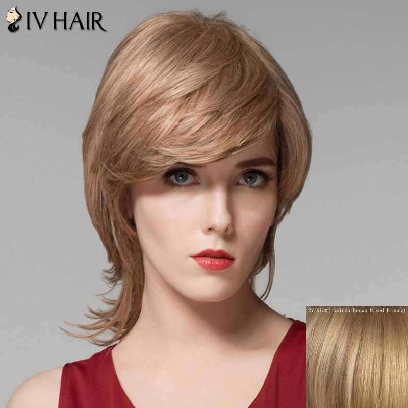Fluffy Wavy Inclined Bang Capless Stunning Medium Layered Human Hair Wig For Women - GOLDEN BROWN/BLONDE