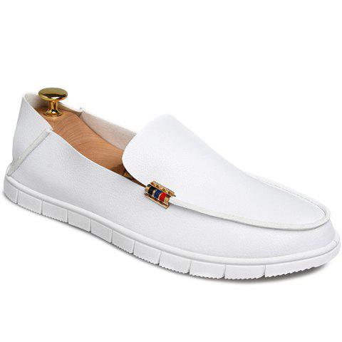 Simple PU Leather and White Design Casual Shoes For Men