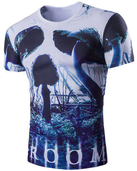 Vogue Short Sleeves 3D Skulls Pattern Round Neck Men's T-Shirt - COLORMIX L