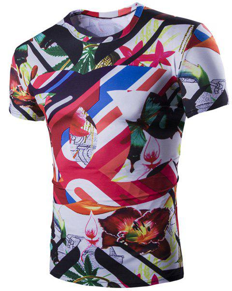 3D Flower Butterfly Print Short Sleeves Round Neck Men's Striped T-Shirt - COLORMIX M