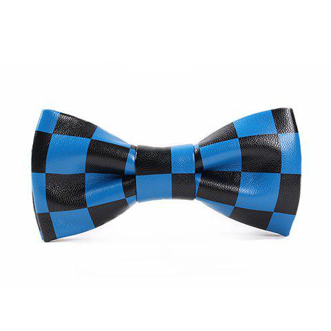 Stylish Checked Pattern Men's Black and Blue PU Bow Tie - BLUE/BLACK