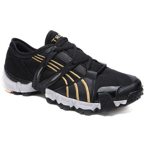 Fashionable Round Toe and Lace-Up Design Sneakers For Men - BLACK 43