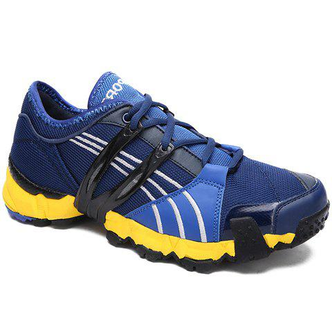 Fashionable Round Toe and Lace-Up Design Sneakers For Men - BLUE 44