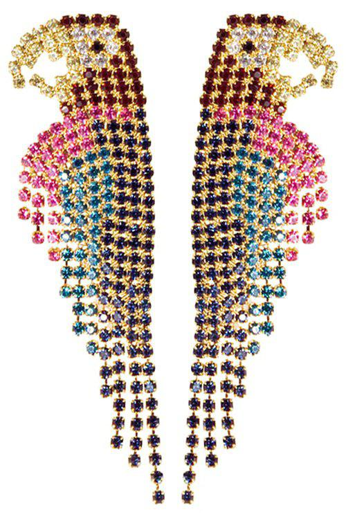 Stylish Colorful Rhinestone Parrot Earrings For Women - COLORMIX