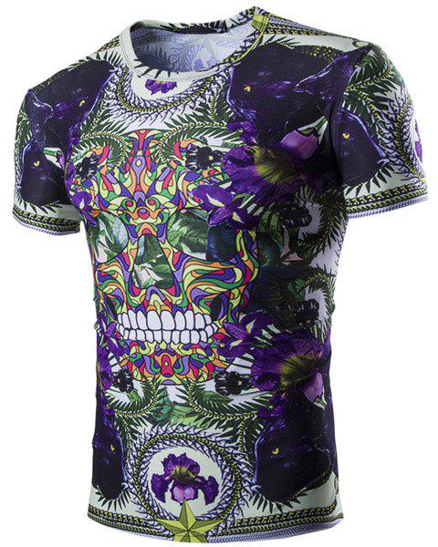 Vogue Floral Skulls Print Short Sleeves Round Neck Men's T-Shirt - PURPLE M