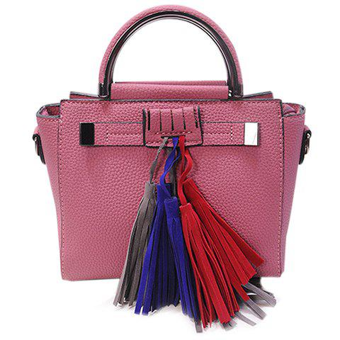 Fashionable Metal and Tassels Design Women's Tote Bag - DEEP PINK