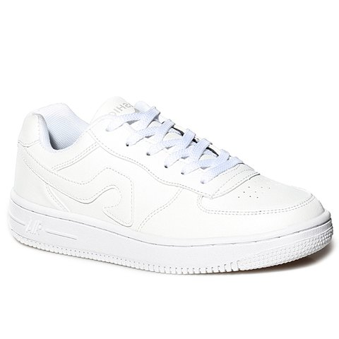Fashion Lace-Up and PU Leather Design Sneakers For Women - WHITE 38