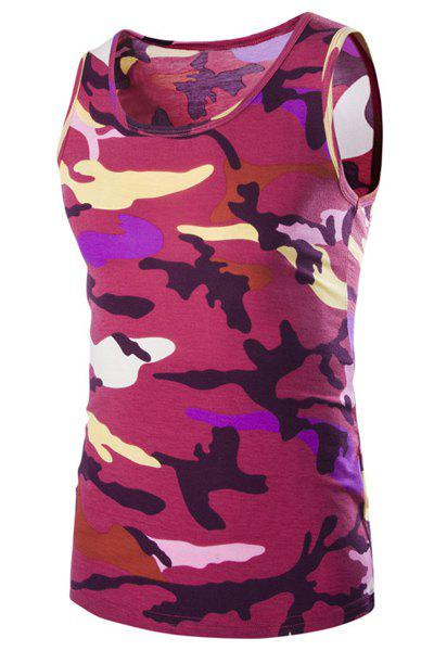 Casual Round Neck Men's Camo Tank Top - RED M