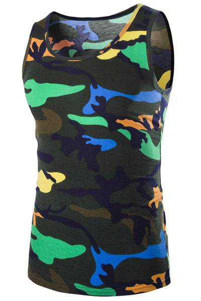 Casual Round Neck Men's Camo Tank Top - BLACKISH GREEN XL