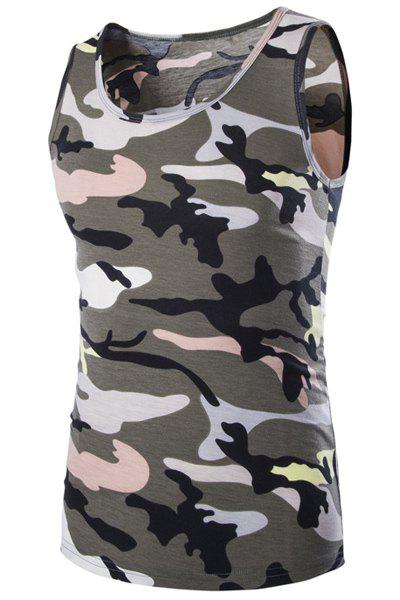 Casual Round Neck Men's Camo Tank Top - ARMY GREEN M