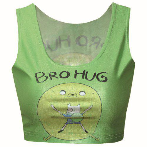 Cute Women's Scoop Neck Cartoon and Letter Print Sleeveless Crop Top - GREEN ONE SIZE(FIT SIZE XS TO M)