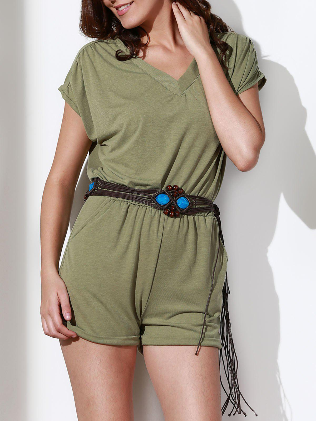 Casual Style V Neck Short Sleeve Solid Color Women's Romper - LIGHT GREEN S
