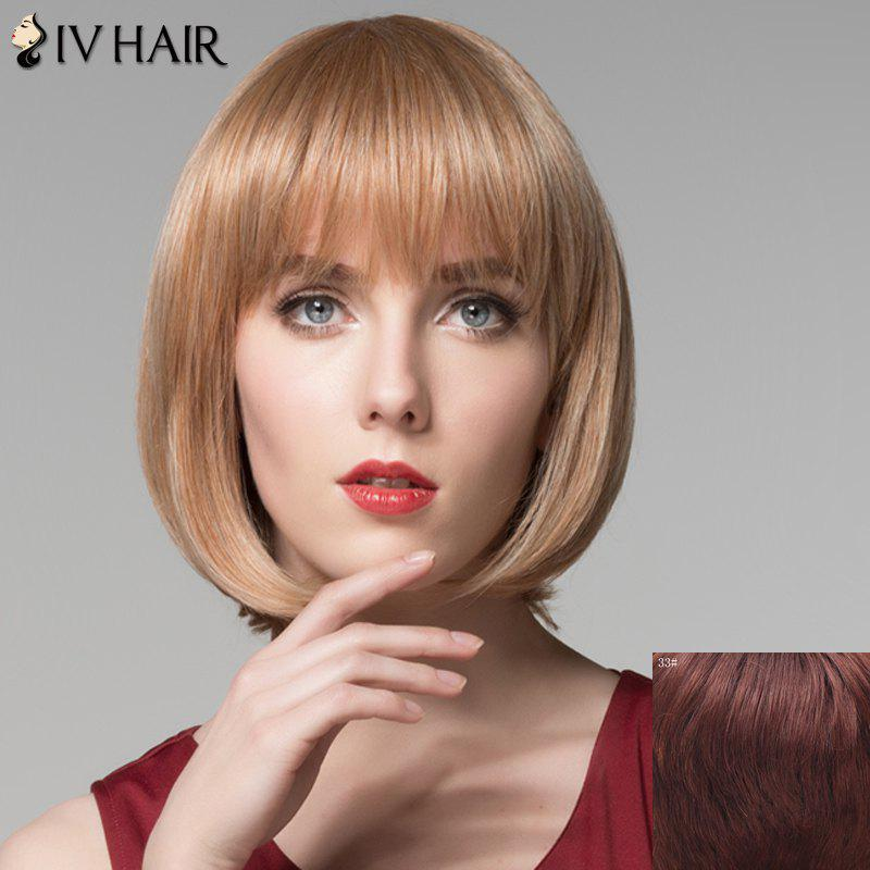 Bob Style Straight Short Attractive Full Bang Capless Human Hair Wig For Women