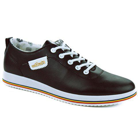 Simple PU Leather and Lace-Up Design Casual Shoes For Men - BLACK 42