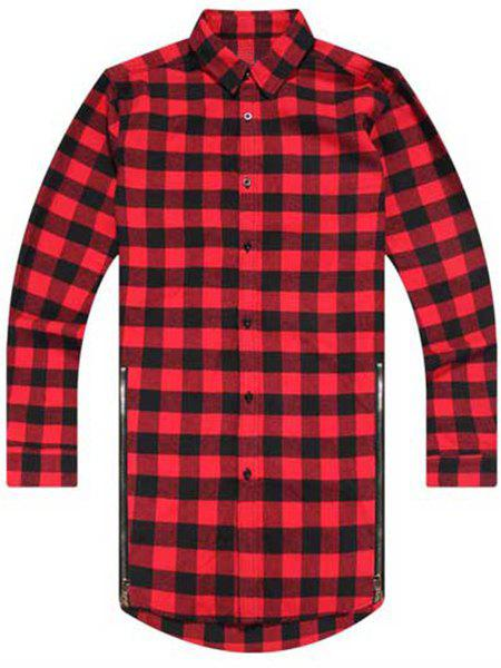 Trendy Turn-Down Collar Plaid Print Zipper Embellished Long Sleeve Men's Shirt - L RED