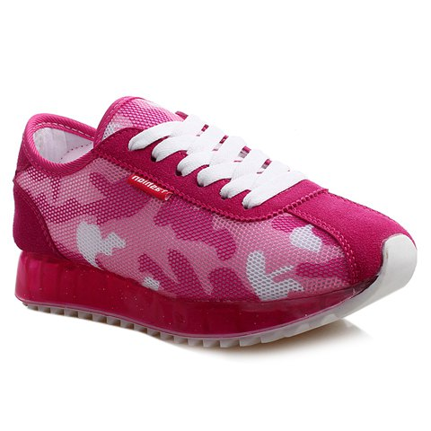 Casual Camouflage and Lace-Up Design Sneakers For Women - ROSE 40
