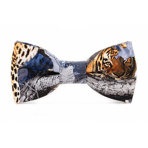 Stylish 3D Wild Tiger Leopard Tree Limb Pattern PU Bow Tie For Men