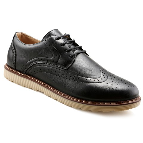 Trendy PU Leather and Engraving Design Formal Shoes For Men - BLACK 42
