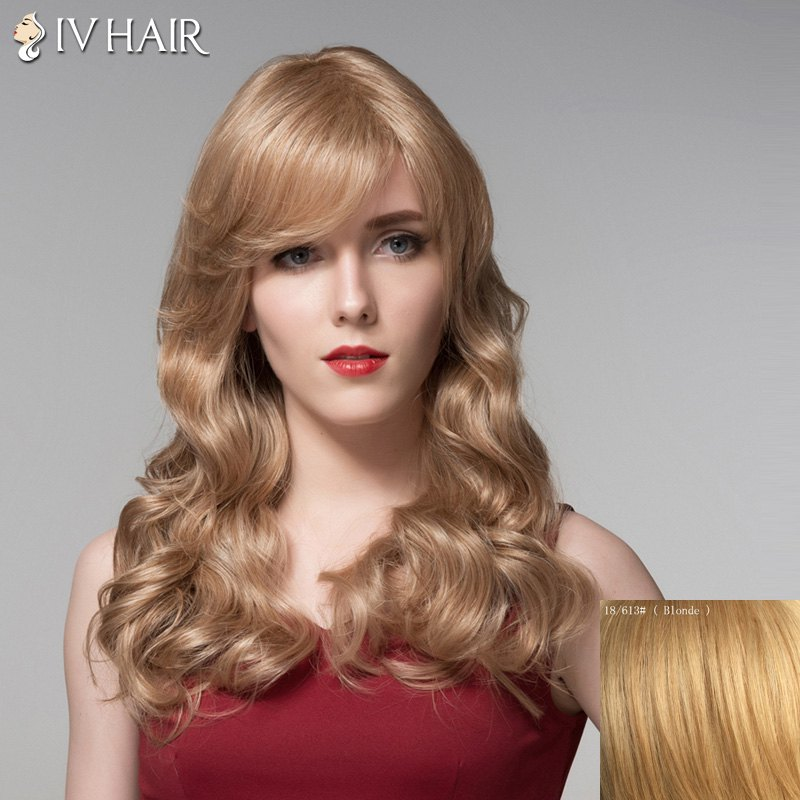 Ladylike Human Hair Side Bang Long Wavy Wig For Women -  BLONDE