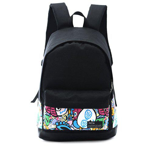 Stylish Zipper and Cartoon Pattern Design Women's Backpack - BLACK