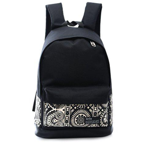 Trendy Canvas and Color Block Design Women's Backpack - WHITE/BLACK