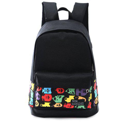 Leisure Multicolor and Zipper Design Women's Backpack - BLACK