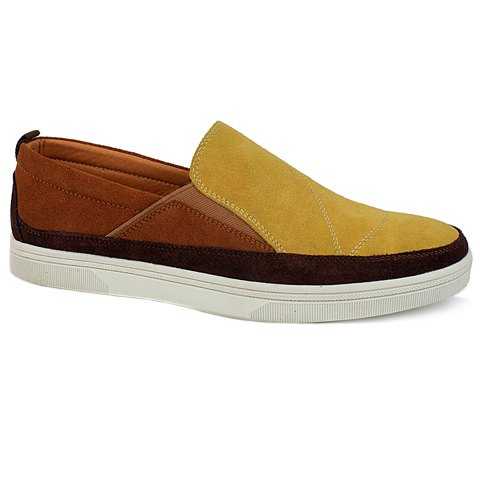 Fashionable Color Block and Suede Design Casual Shoes For Men - YELLOW 40