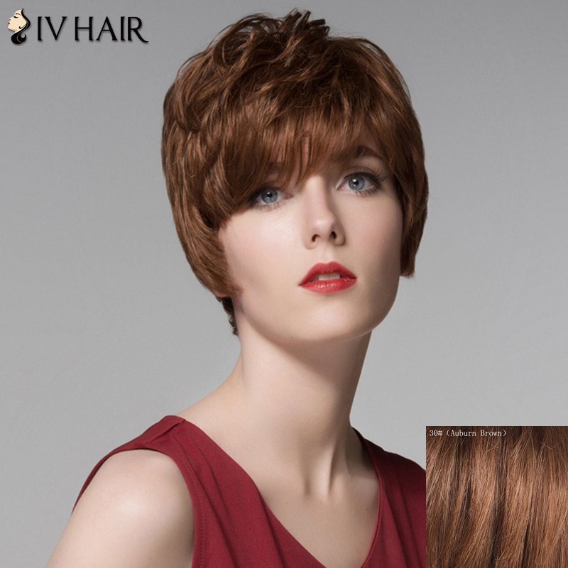 Fluffy Human Hair Inclined Bang Short Wig For Women - AUBURN BROWN