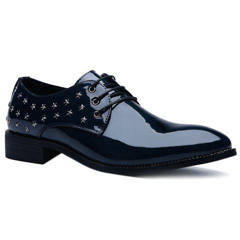 Fashion Rivets and Patent Leather Design Formal Shoes For Men - DEEP BLUE 42