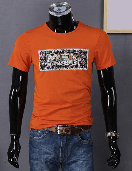 Round Neck Letters and Flower Print Short Sleeve T-Shirt For Men - ORANGE L