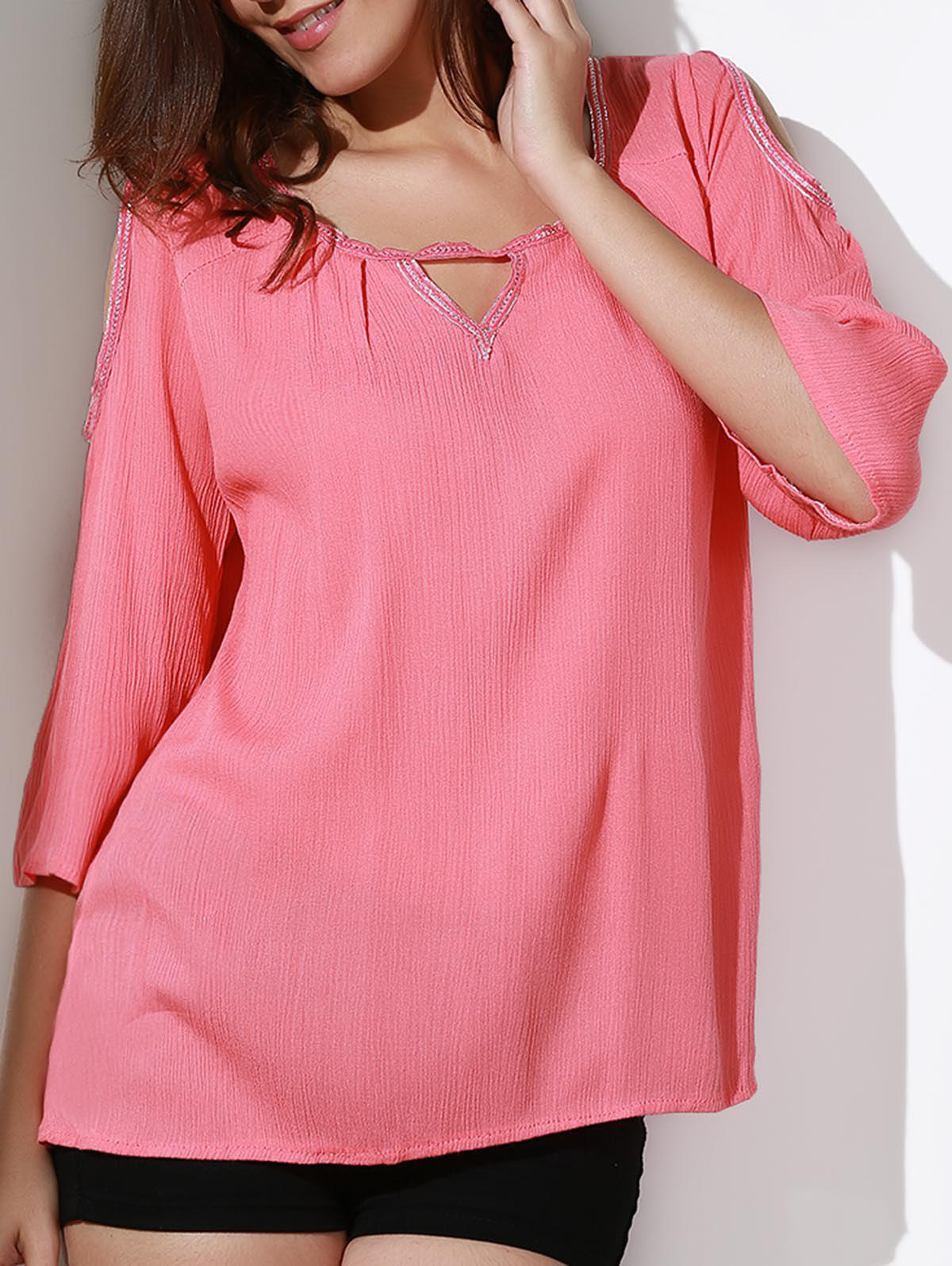 Stylish Scoop Collar 3/4 Sleeve Loose-Fitting Cold Shoulder Women's Blouse - WATERMELON RED S